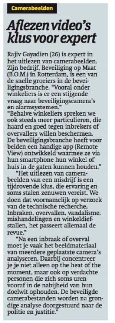 Camerabeveiliging Review 2014 Beveiliging op Maat Metro Krant